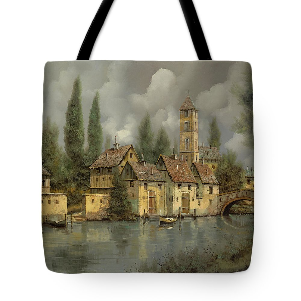 River Tote Bag featuring the painting Il Borgo Sul Fiume by Guido Borelli