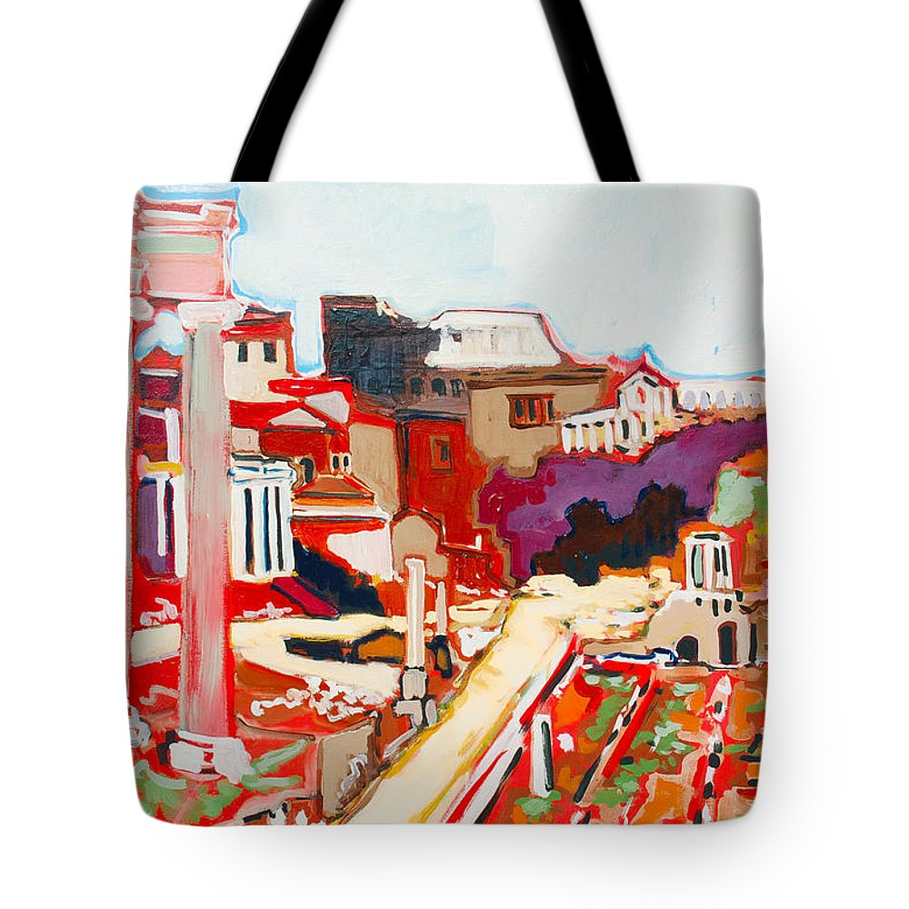 Rome Tote Bag featuring the painting Il Foro Romano by Kurt Hausmann