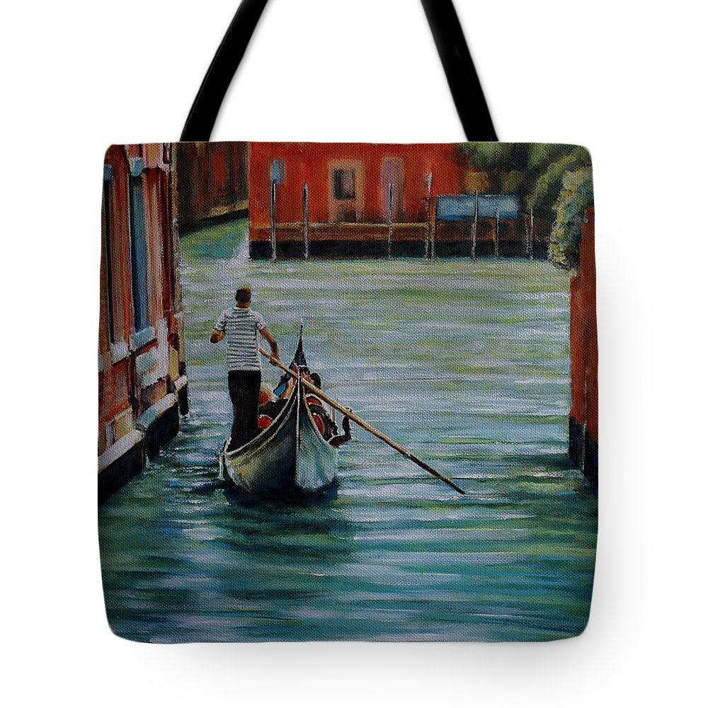 Gondola Gondoliere Venice Venezia Canal Tote Bag featuring the painting Il Gondoliere by Andy Lloyd