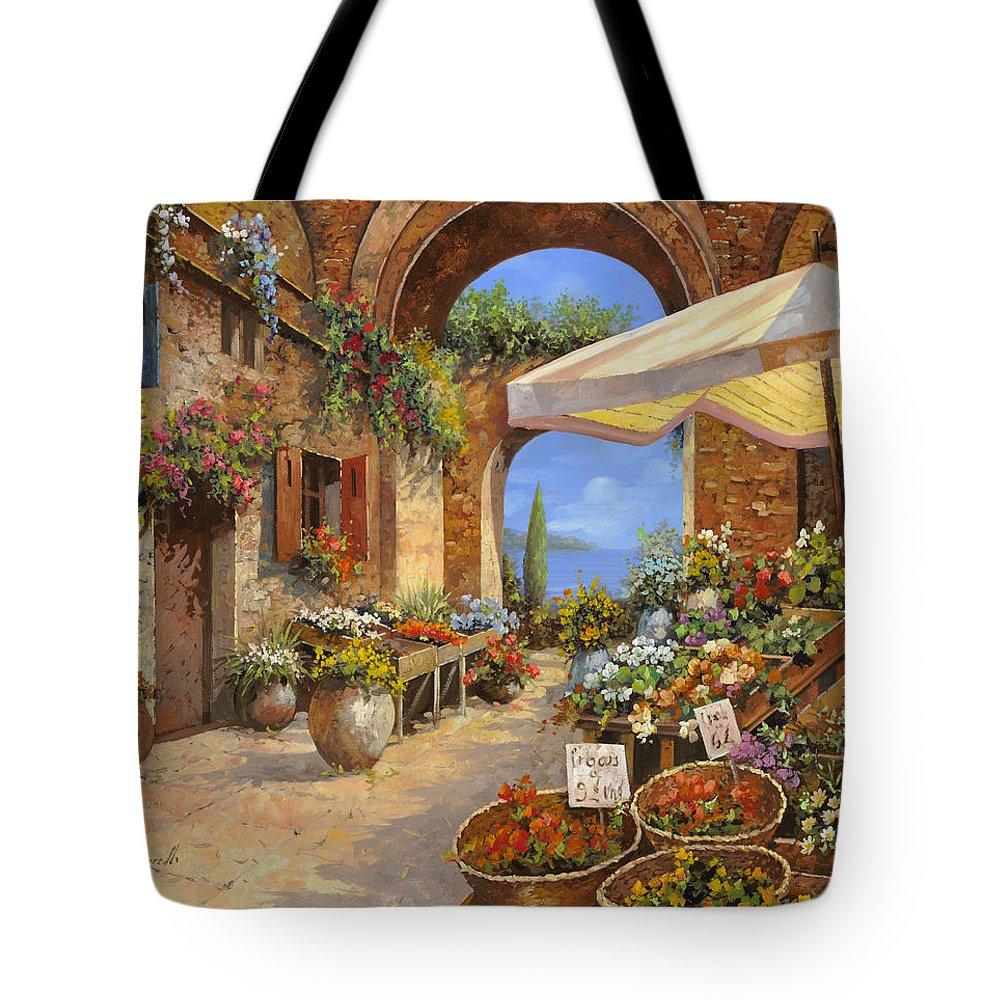 Landscape Tote Bag featuring the painting Il Mercato Del Lago by Guido Borelli
