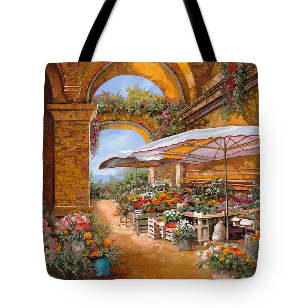 Market Tote Bag featuring the painting Il Mercato Sotto I Portici by Guido Borelli
