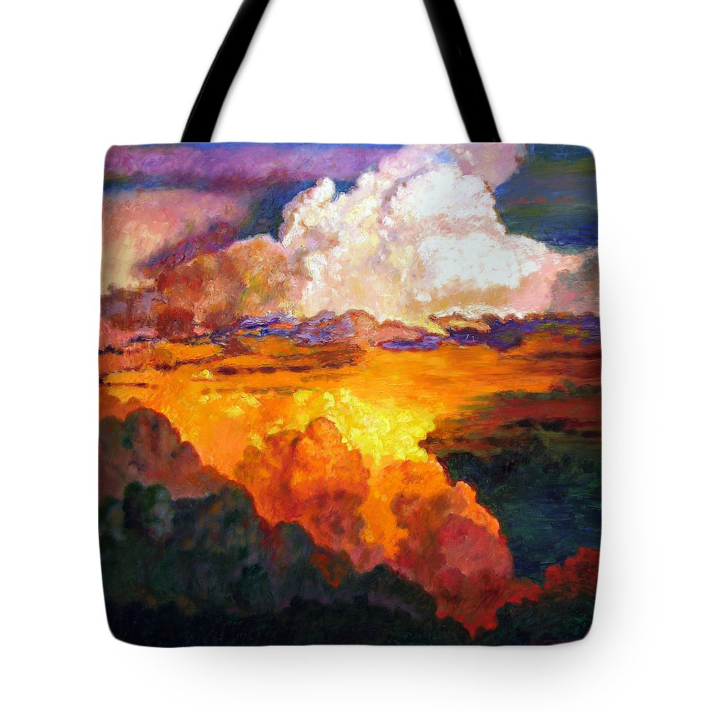 Clouds Tote Bag featuring the painting Ill Fly Away O Glory by John Lautermilch