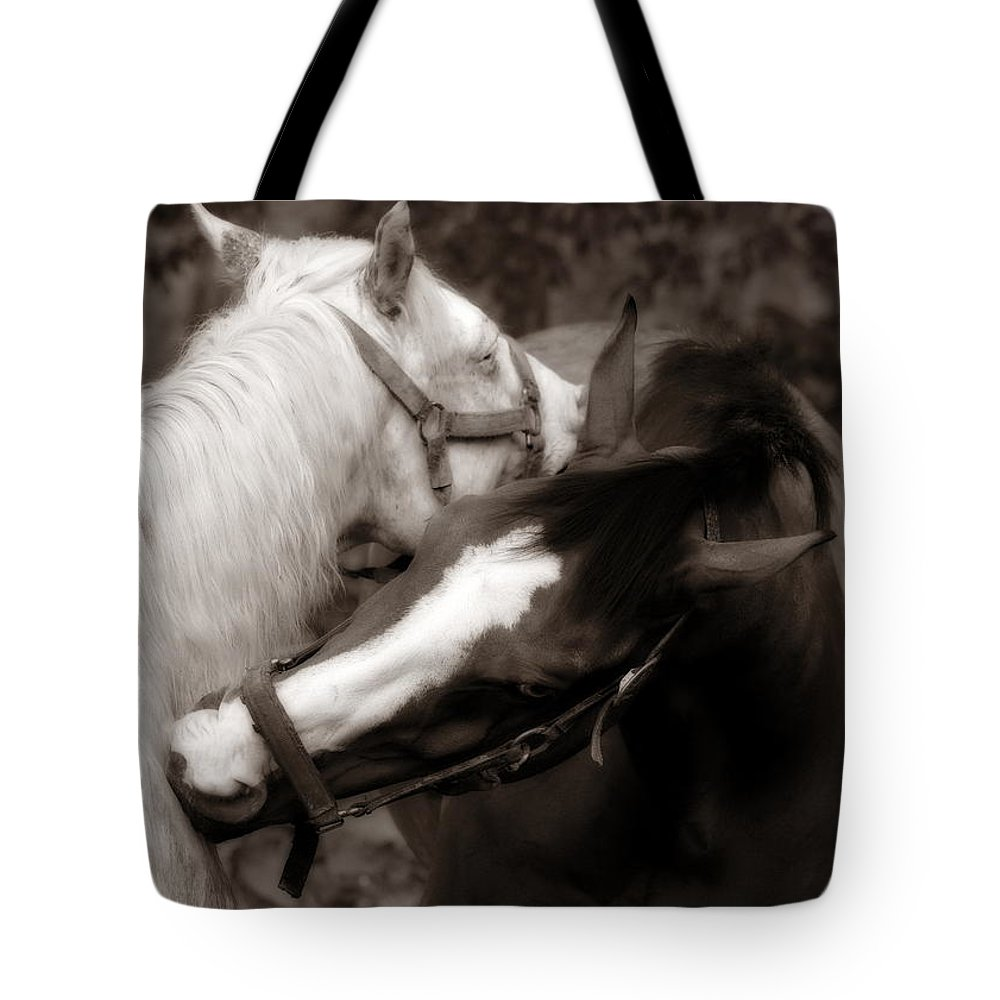 Horses Tote Bag featuring the photograph I'll Scratch Your Back If.... by Angela Rath