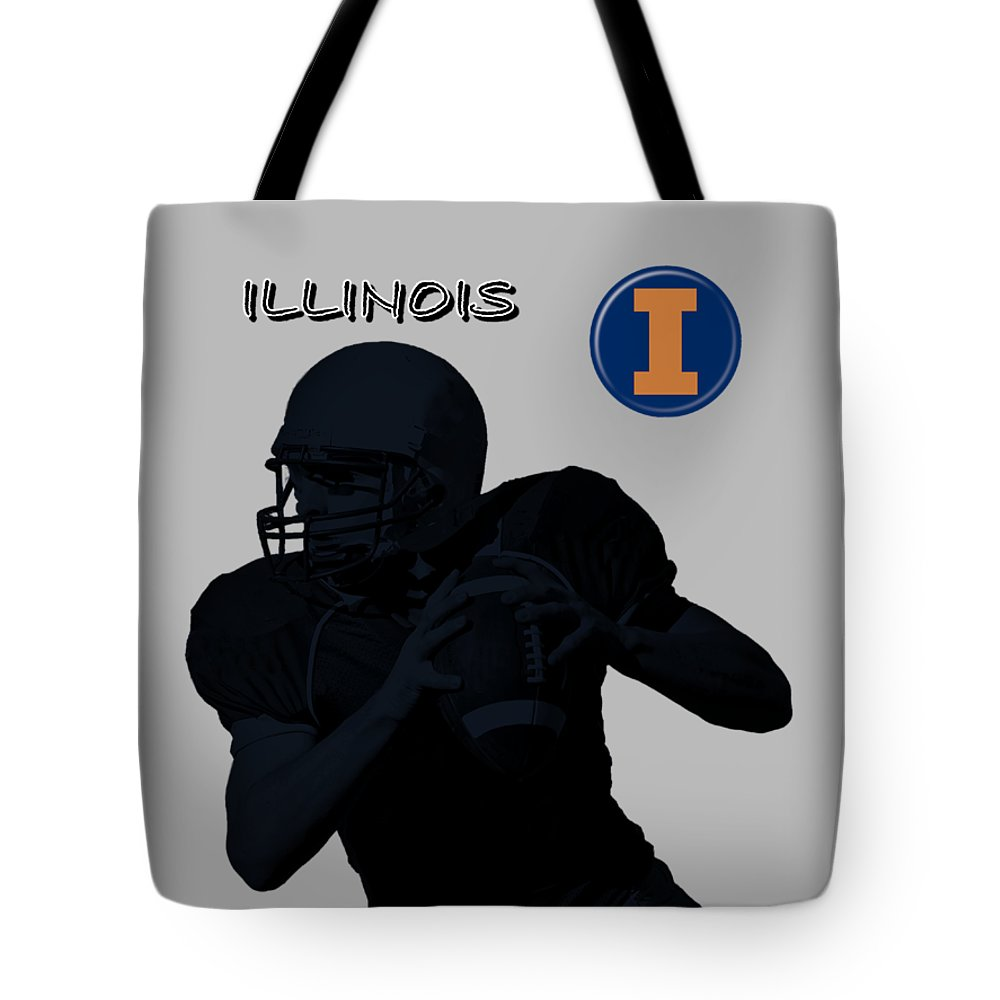 Football Tote Bag featuring the digital art Illinois Football by David Dehner