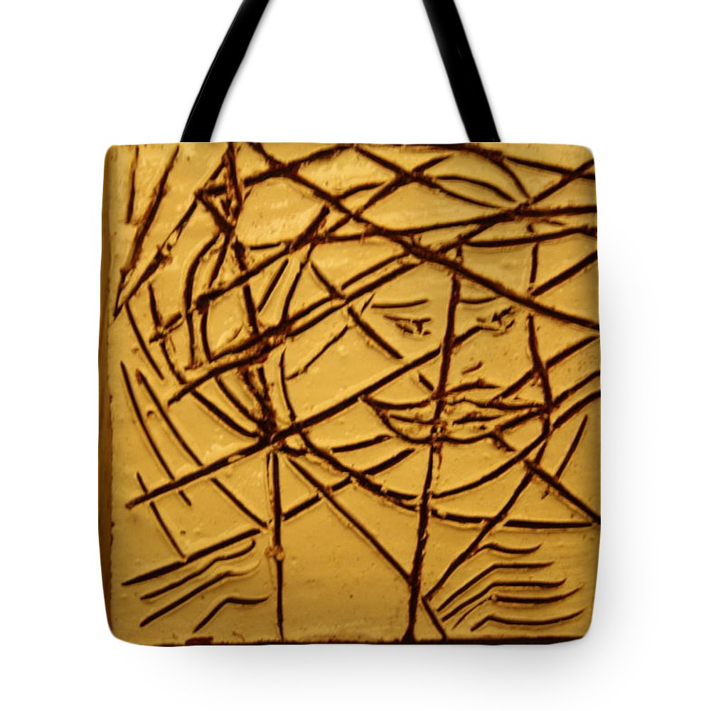 Jesus Tote Bag featuring the ceramic art Illuminate - Tile by Gloria Ssali
