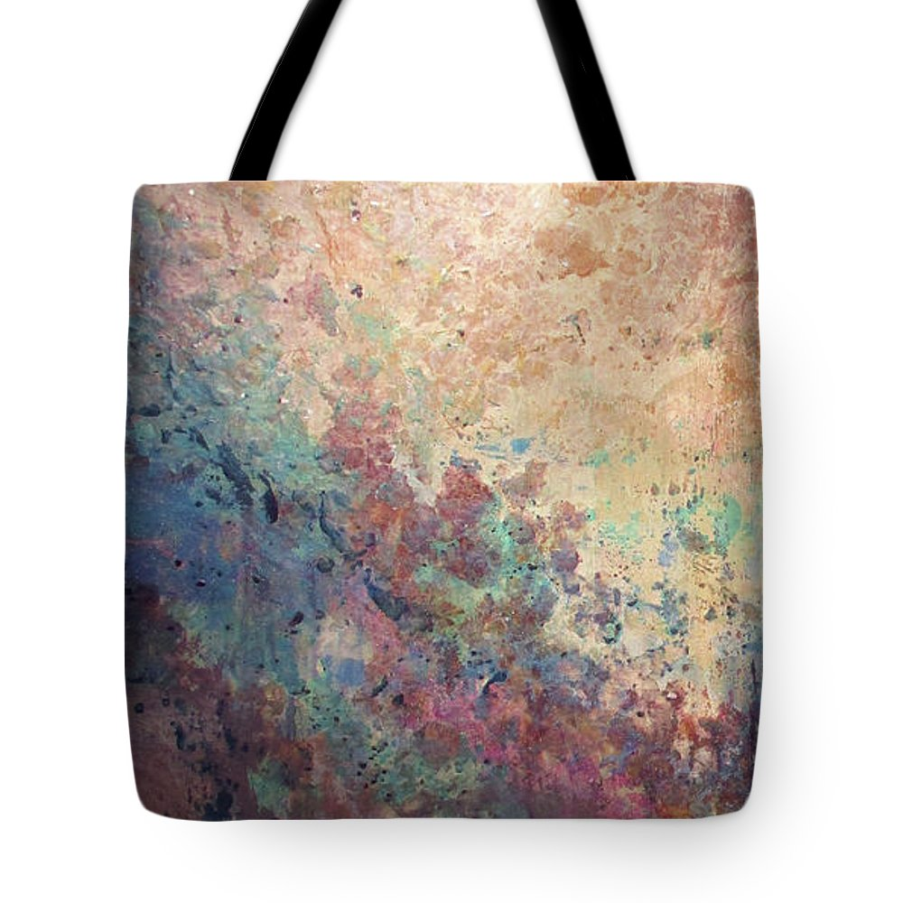 Mica Tote Bag featuring the painting Illuminated Valley I Diptych by Shadia Derbyshire