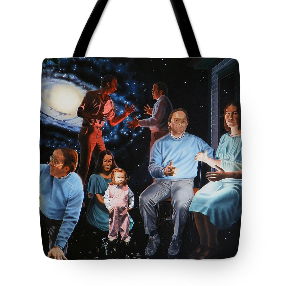 Surreal Tote Bag featuring the painting Illumination Beyond Ursa Major by Dave Martsolf