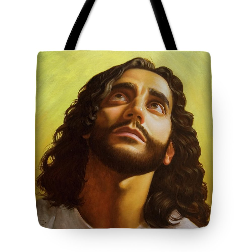 Male Figurative Tote Bag featuring the painting Illumination by Gary Hernandez