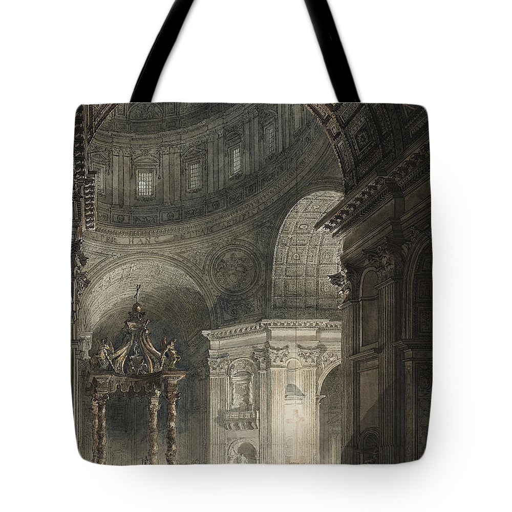 Italy Tote Bag featuring the drawing Illumination Of The Cross In St. Peter's On Good Friday, 1787 by Giovanni Battista Piranesi