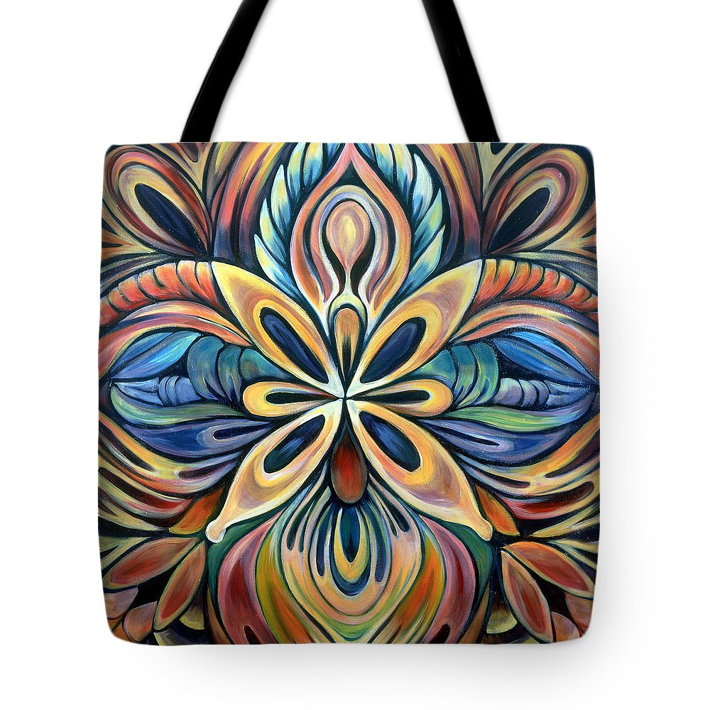 Mandala Tote Bag featuring the painting Illumination by Shadia Derbyshire