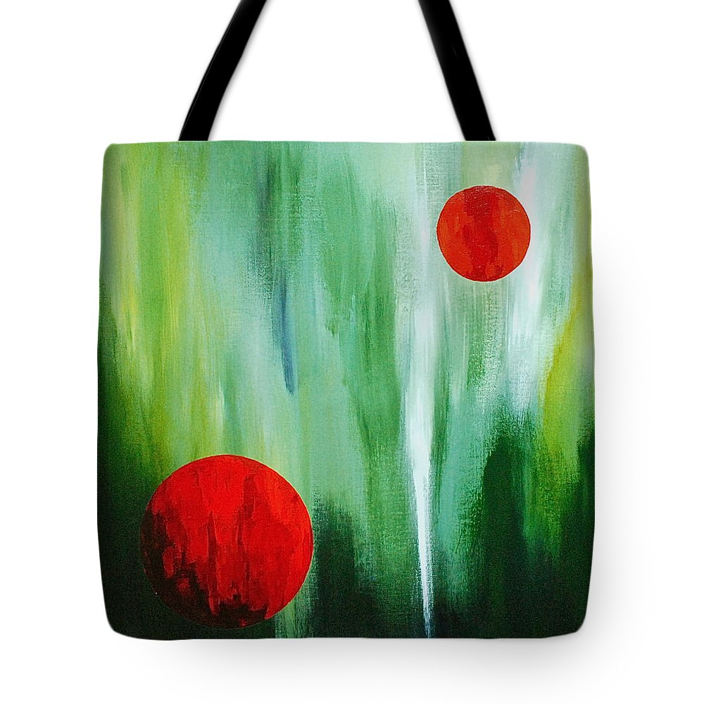 Abstract By Herschel Fall Red And Green Tote Bag featuring the painting Illusion Of Light by Herschel Fall