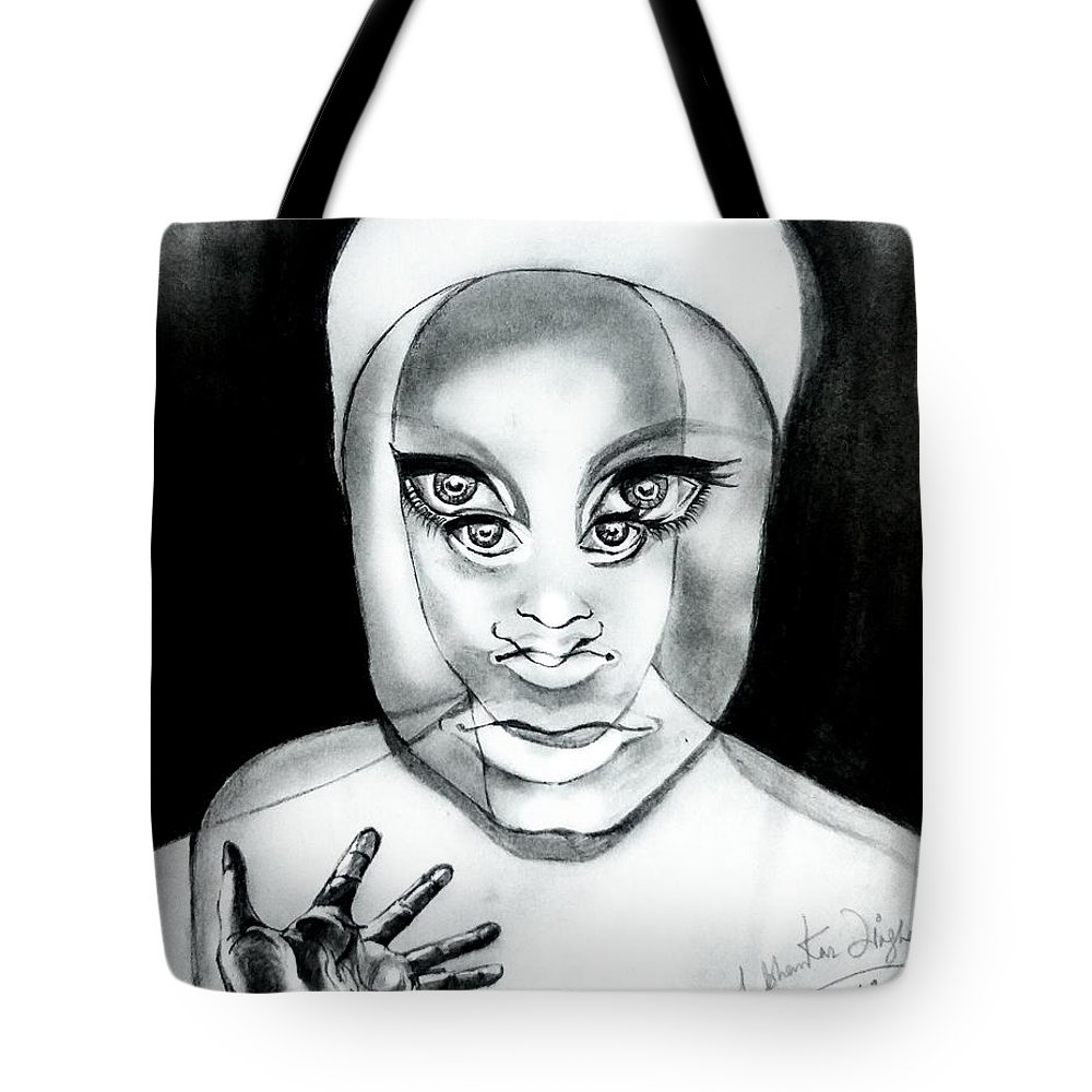 Tote Bag featuring the drawing Illusion by Shubhankar Singha