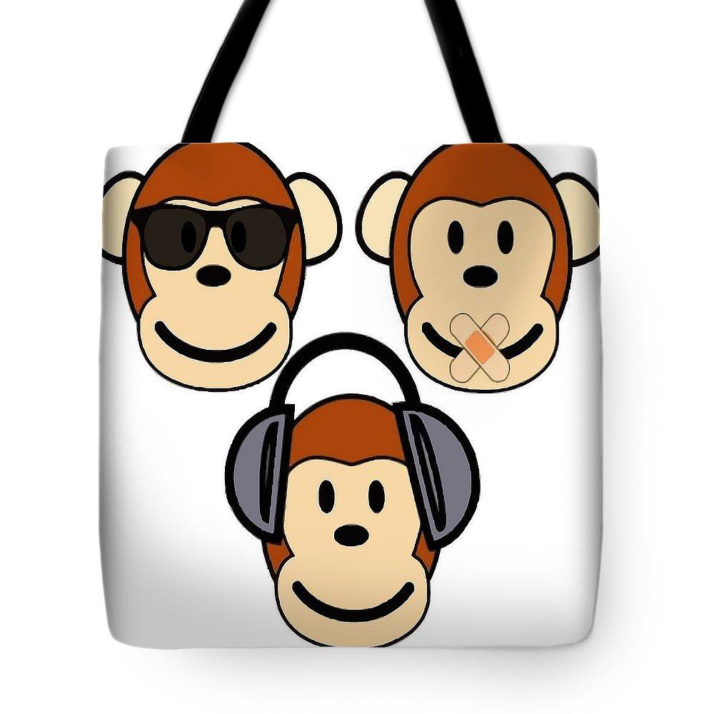 Illustration Of Cartoon Three Monkeys See Hear Speak No Evil Tote