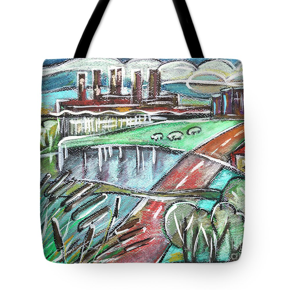 Water Tote Bag featuring the drawing illustration of typical Holland by Ariadna De Raadt