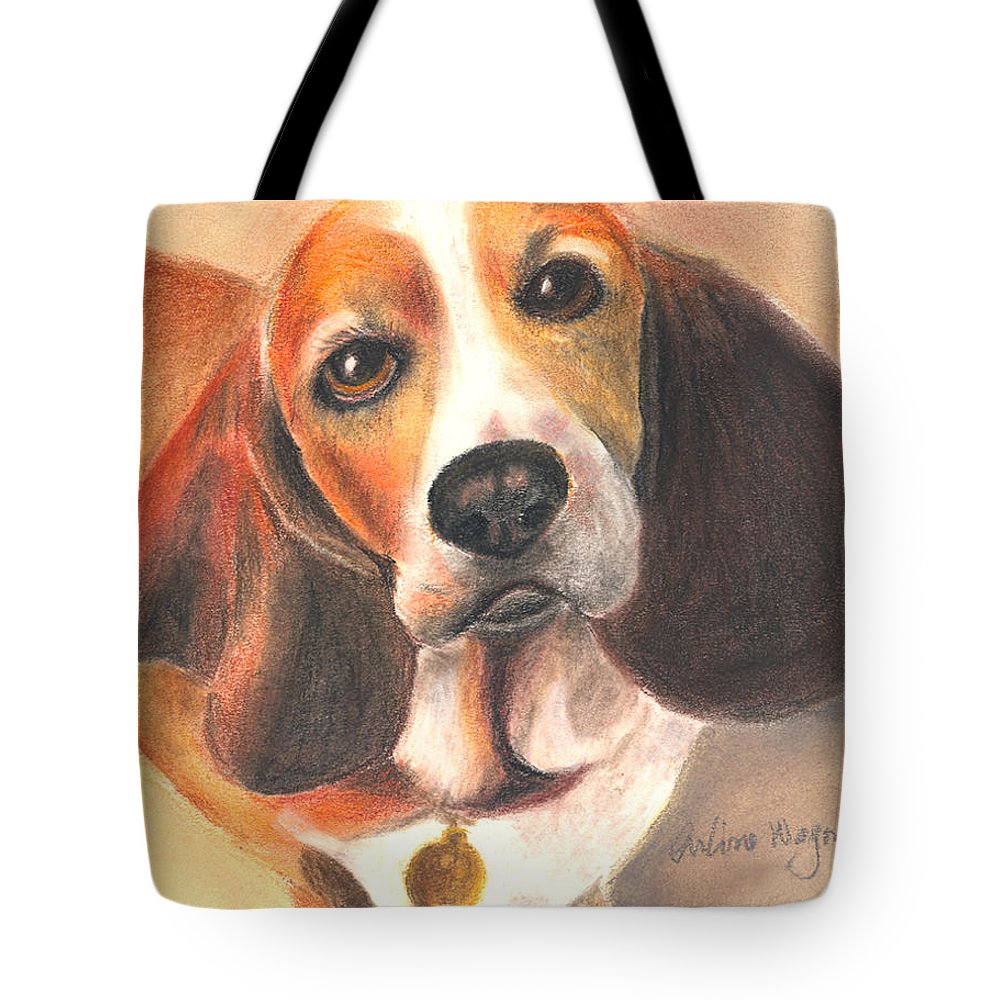 Dog Tote Bag featuring the pastel I'm Innocent...the Cat Did It by Arline Wagner
