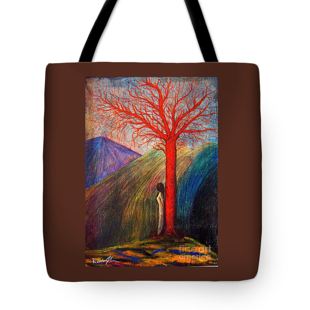 Woman Tote Bag featuring the painting I'm Not Alone by Riccardo Maffioli