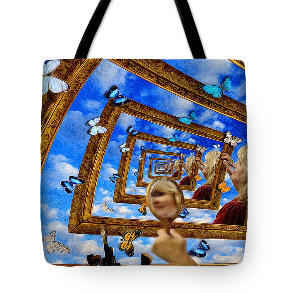 Droste Tote Bag featuring the painting Imaginations by Robby Donaghey