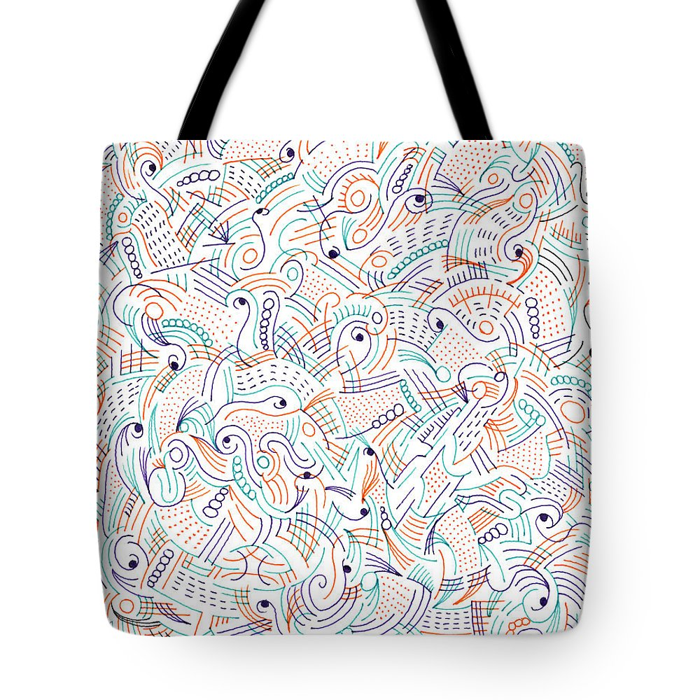 Mazes Tote Bag featuring the drawing Imagine by Steven Natanson