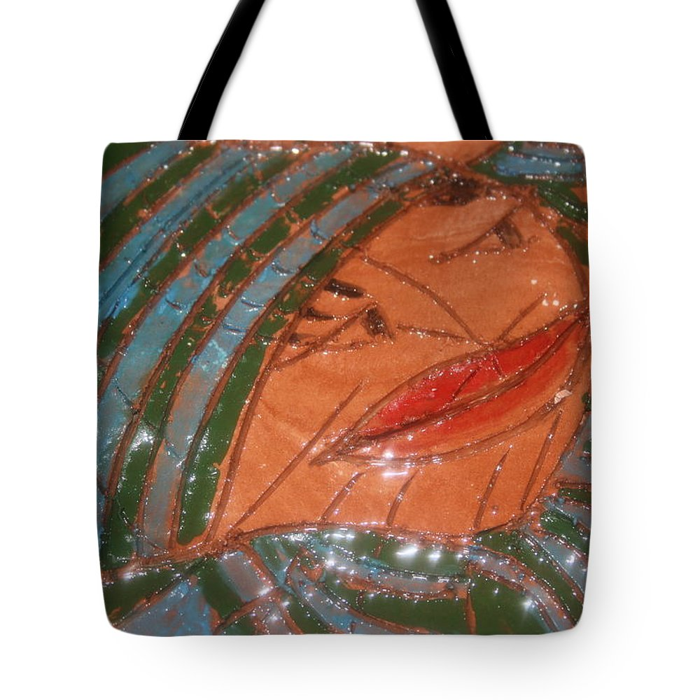 Jesus Tote Bag featuring the ceramic art Imelda - Tile by Gloria Ssali