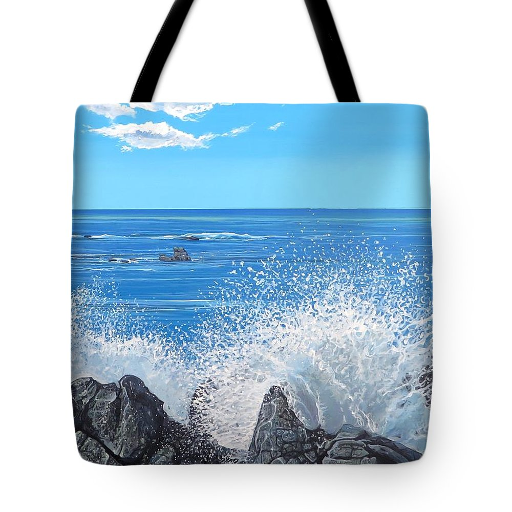 Ocean Tote Bag featuring the painting Splash by Hunter Jay