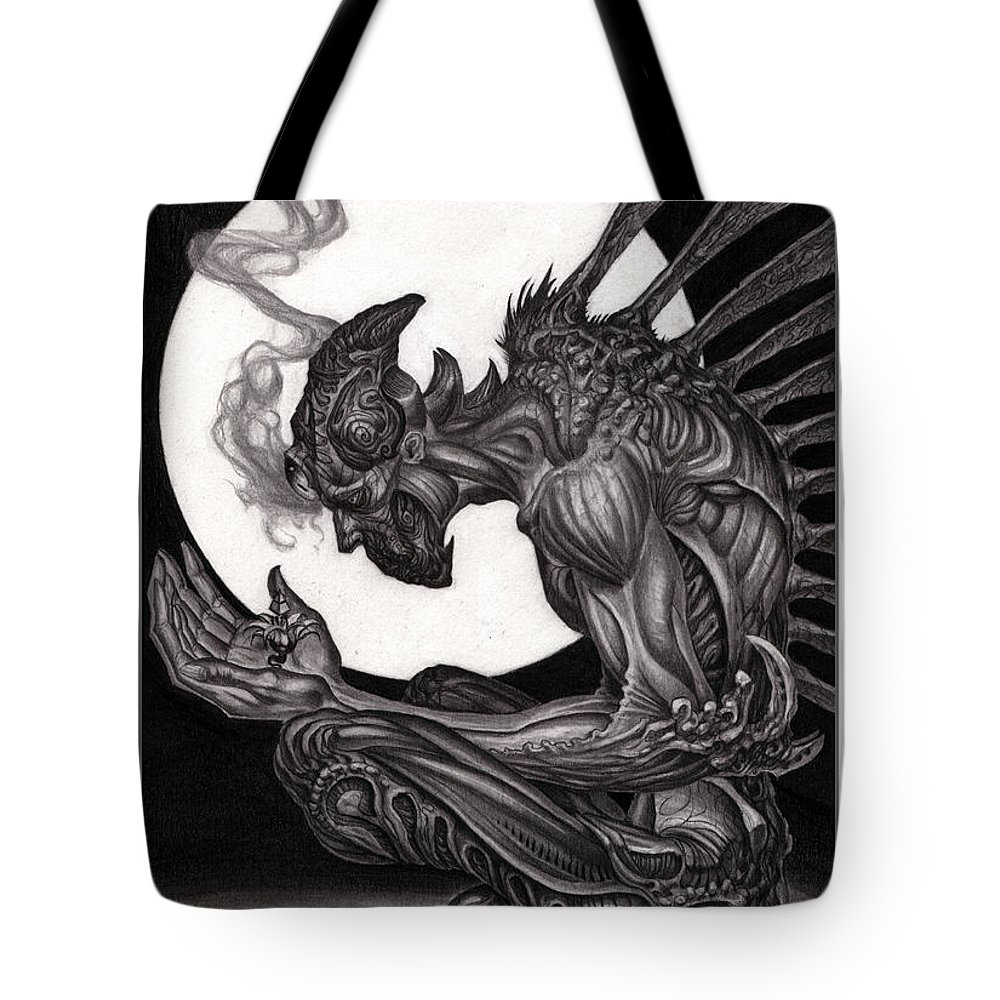 Tony Koehl Tote Bag featuring the drawing Immense Understanding Graphite by Tony Koehl