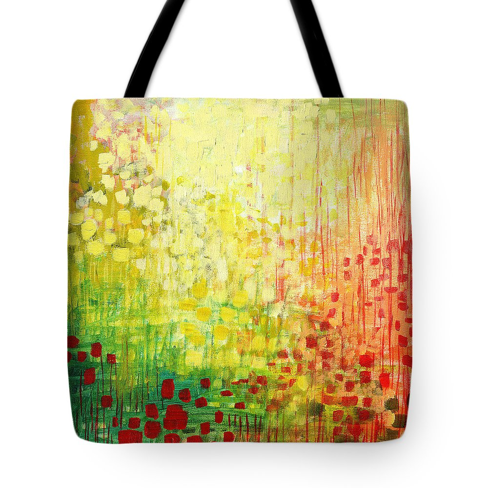 Abstract Tote Bag featuring the painting Immersed No 2 by Jennifer Lommers