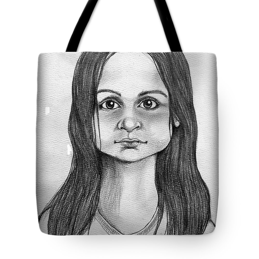 Portrait Tote Bag featuring the drawing Immigrant Girl by Marco Morales