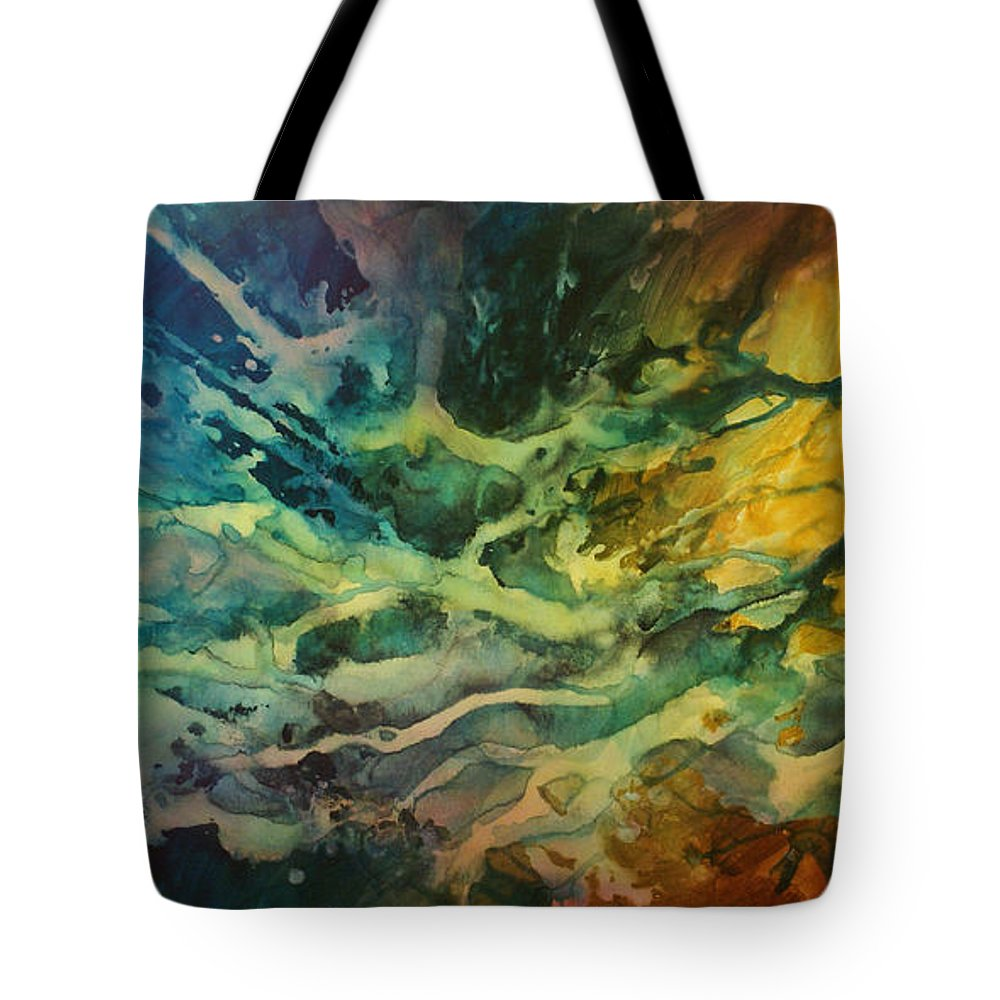 Abstract Design Tote Bag featuring the painting Impact by Michael Lang