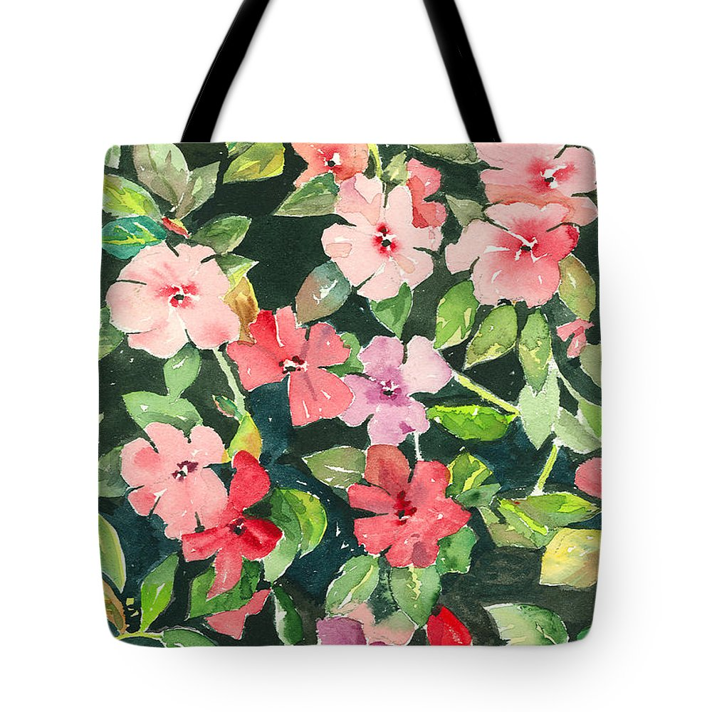 Impatiens Tote Bag featuring the painting Impatiens by Arline Wagner