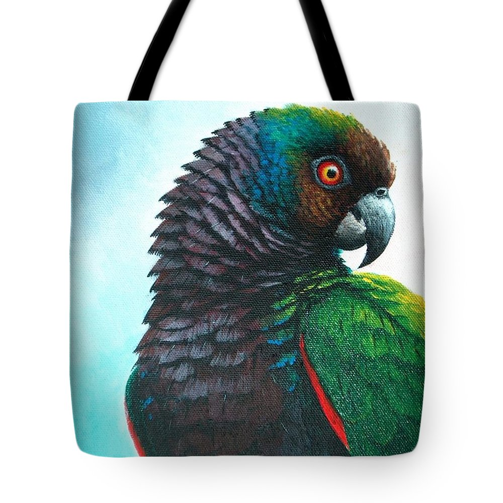 Chris Cox Tote Bag featuring the painting Imperial Parrot by Christopher Cox