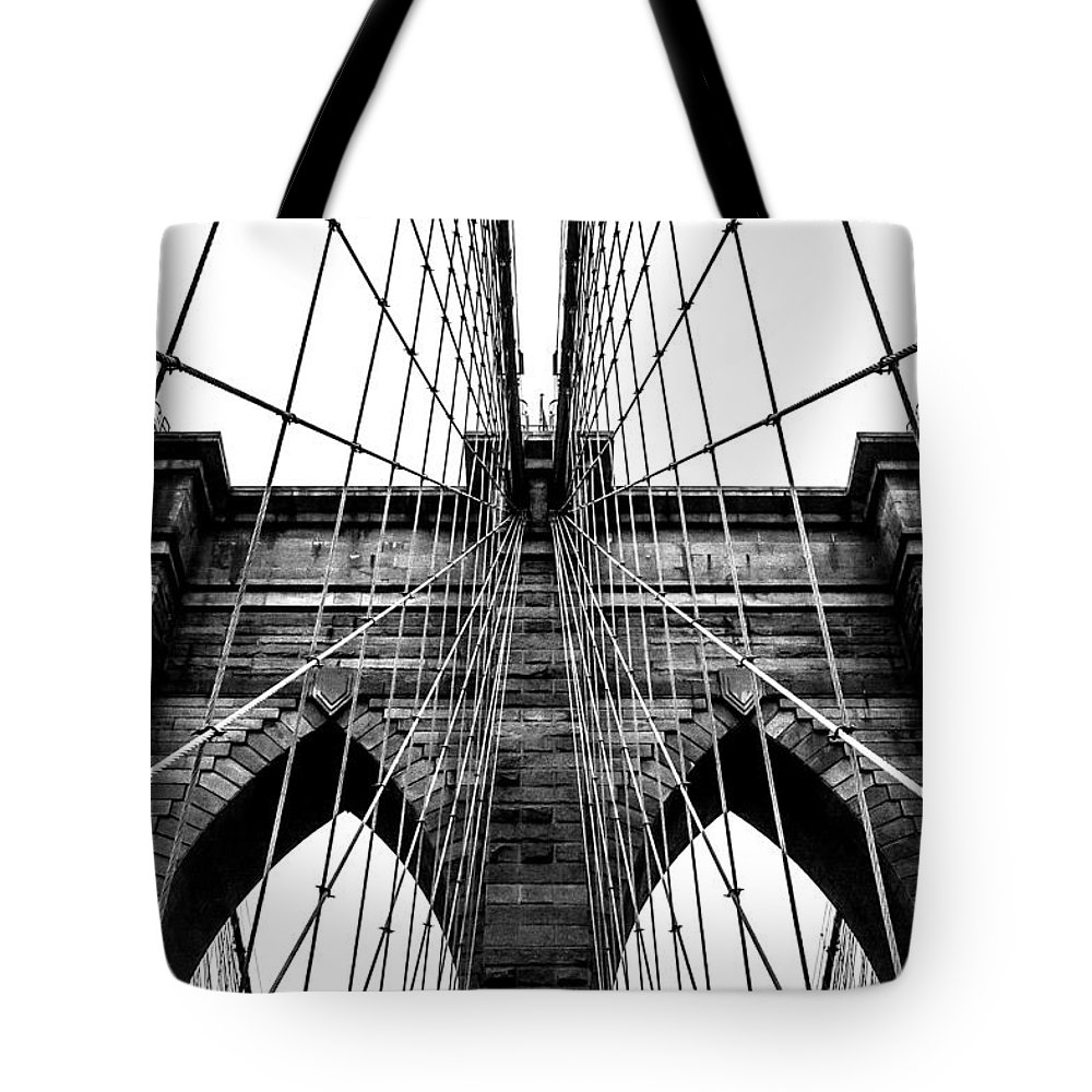 Brooklyn Bridge Tote Bag featuring the photograph Imposing Arches by Az Jackson