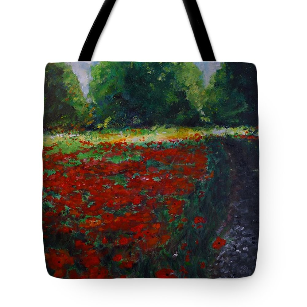Poppy Tote Bag featuring the painting Impressionist Poppy Field by Lizzy Forrester