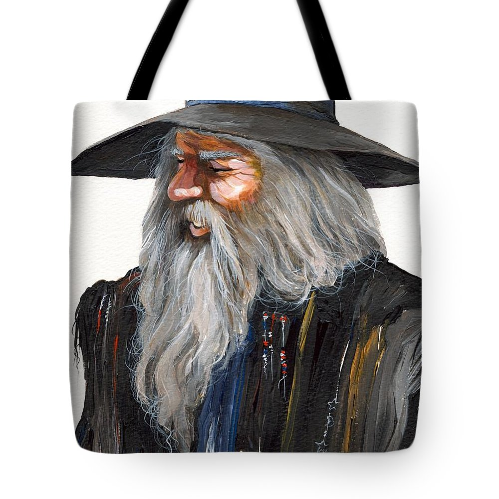 Fantasy Art Tote Bag featuring the painting Impressionist Wizard by J W Baker