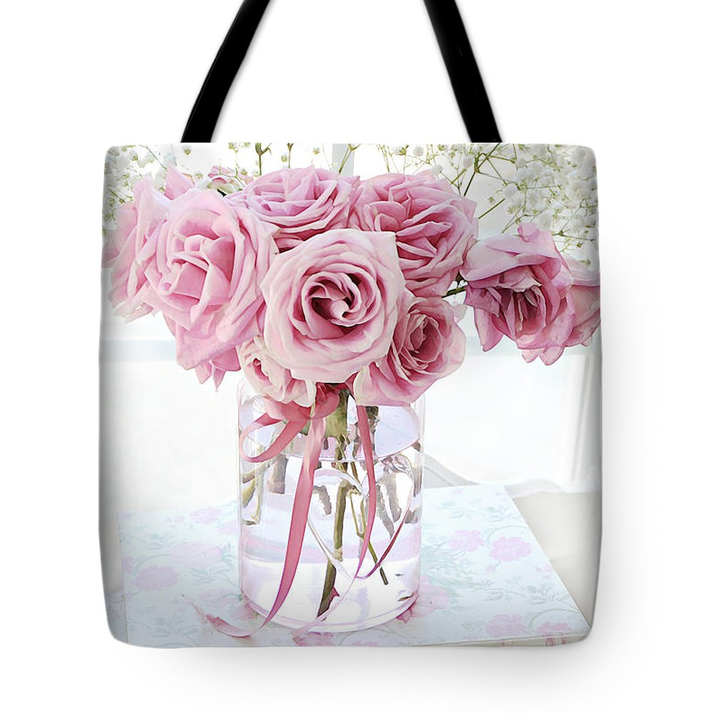 Watercolor books for sale - Watercolor Pink Roses Tote Bag Featuring The Photograph Impressionistic Watercolor Pastel Roses Shabby Chic Decor