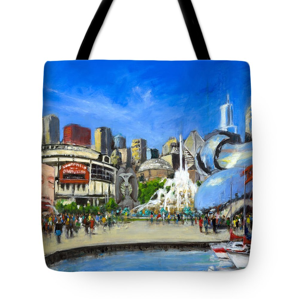 Robert Tote Bag featuring the painting Impressions Of Chicago by Robert Reeves