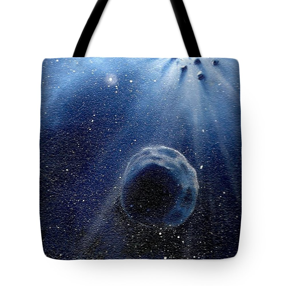 Outerspace Tote Bag featuring the painting Impressive Impact by Murphy Elliott