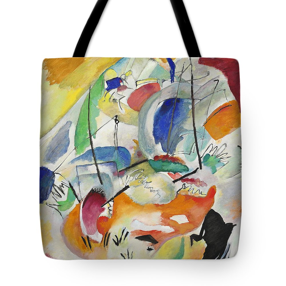 Wassily Kandinsky Tote Bag featuring the painting Improvisation Sea Battle by Wassily Kandinsky