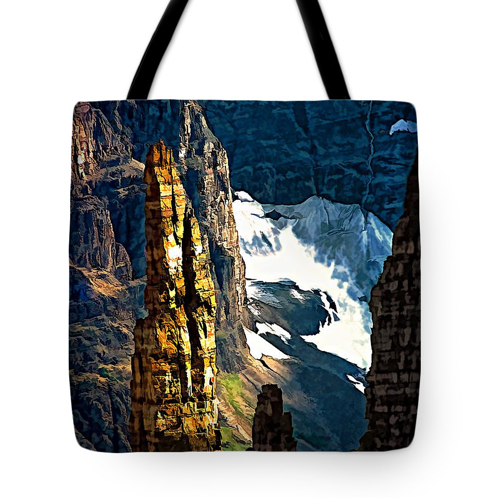 Valley Of The Ten Peaks Tote Bag featuring the photograph In A High Place by Steve Harrington