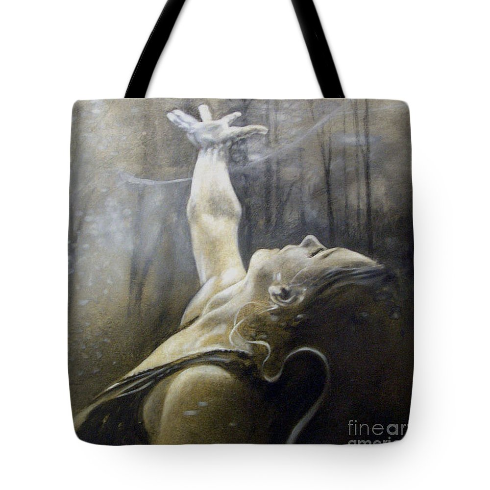 Spitfire Tote Bag featuring the painting In Awe by Riek Jonker
