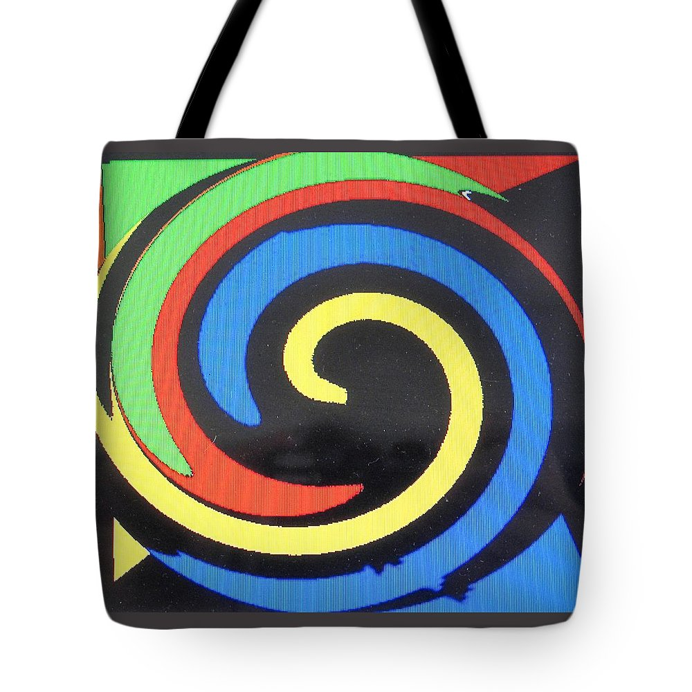 Red Tote Bag featuring the digital art In Balance by Ian MacDonald
