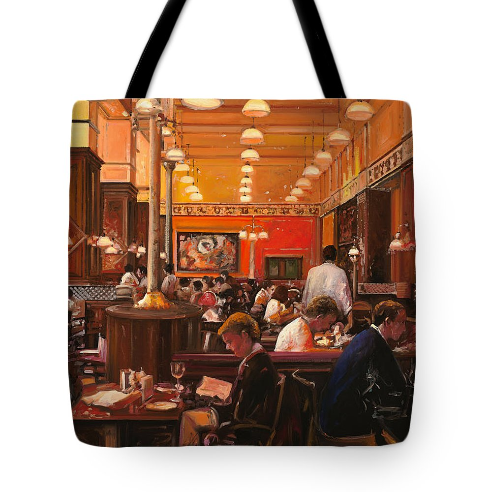 Coffee Shop Tote Bag featuring the painting In Birreria by Guido Borelli