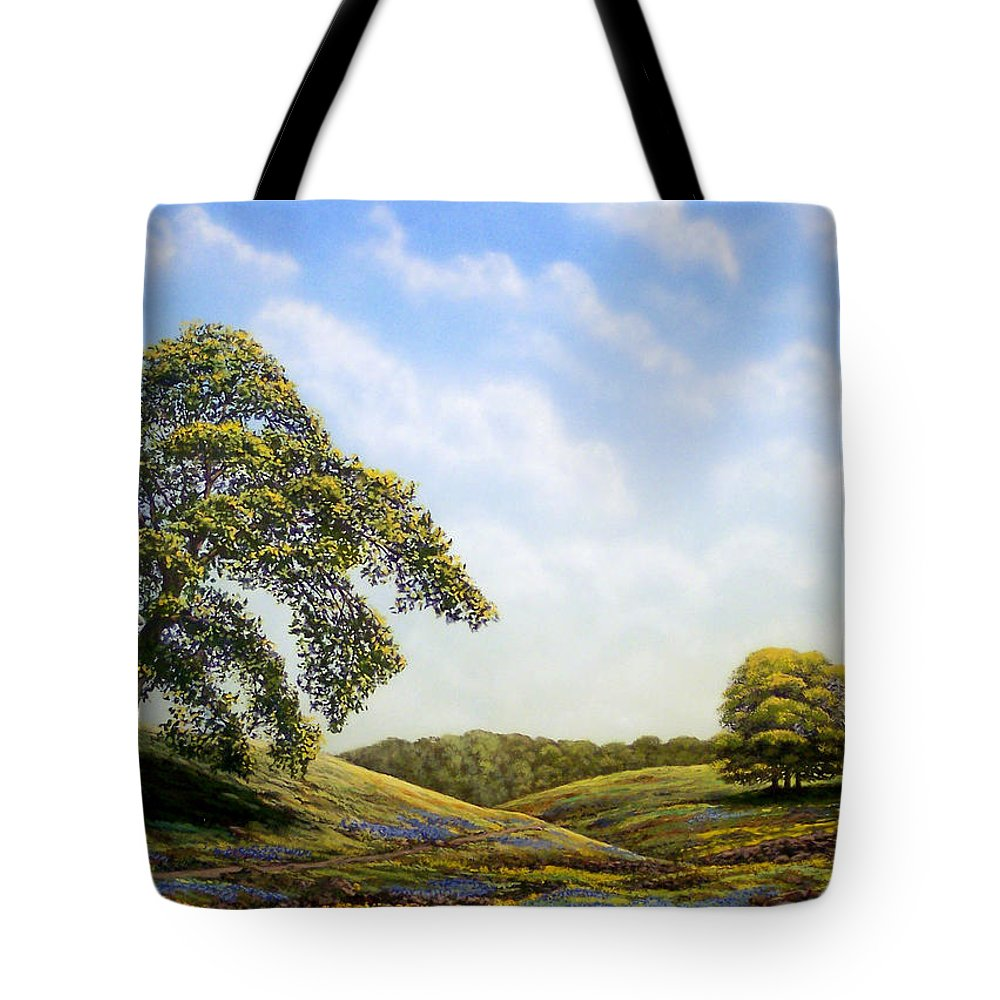 Landscape Tote Bag featuring the painting In Bloom by Frank Wilson