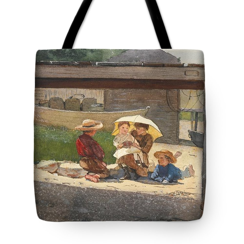 Winslow Homer 1836 - 1910 In Charge Of Baby.park Tote Bag featuring the painting In Charge Of Baby by MotionAge Designs