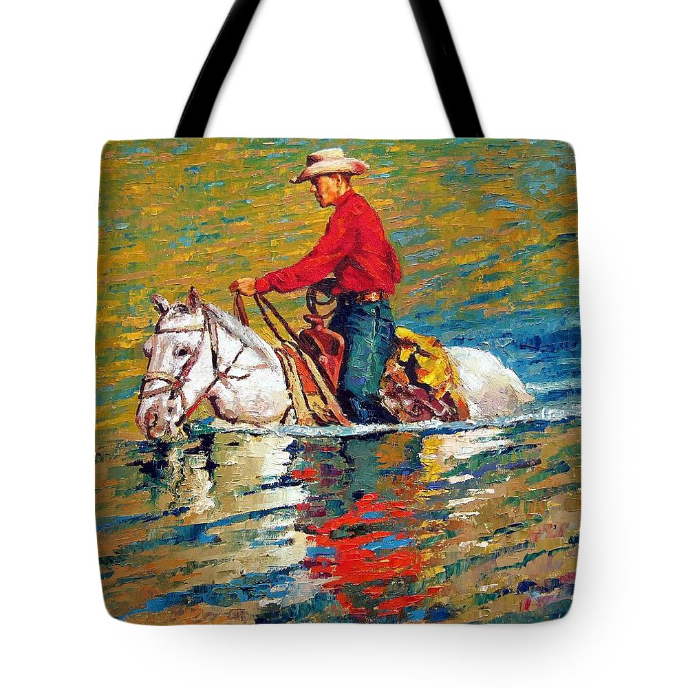 Cowboy Tote Bag featuring the painting In Deep Water by John Lautermilch