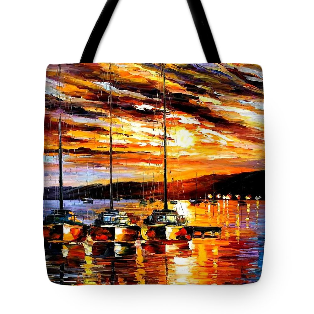 Afremov Tote Bag featuring the painting In Expectation Of Wind by Leonid Afremov