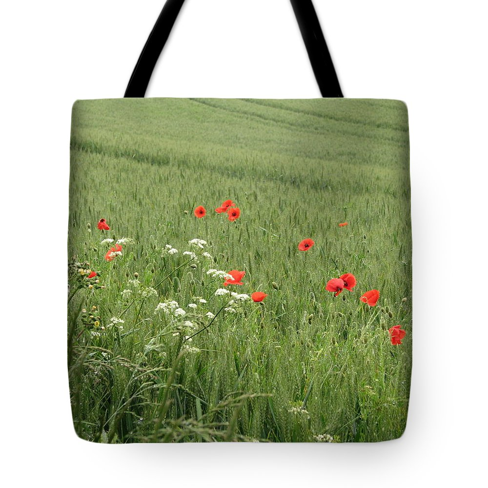 Lest-we Forget Tote Bag featuring the photograph in Flanders Fields the poppies blow by Mary Ellen Mueller Legault