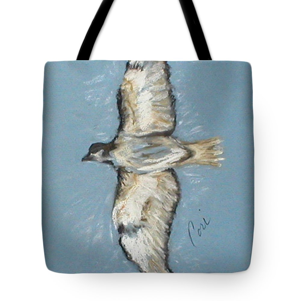 Bird Tote Bag featuring the drawing In Flight by Cori Solomon