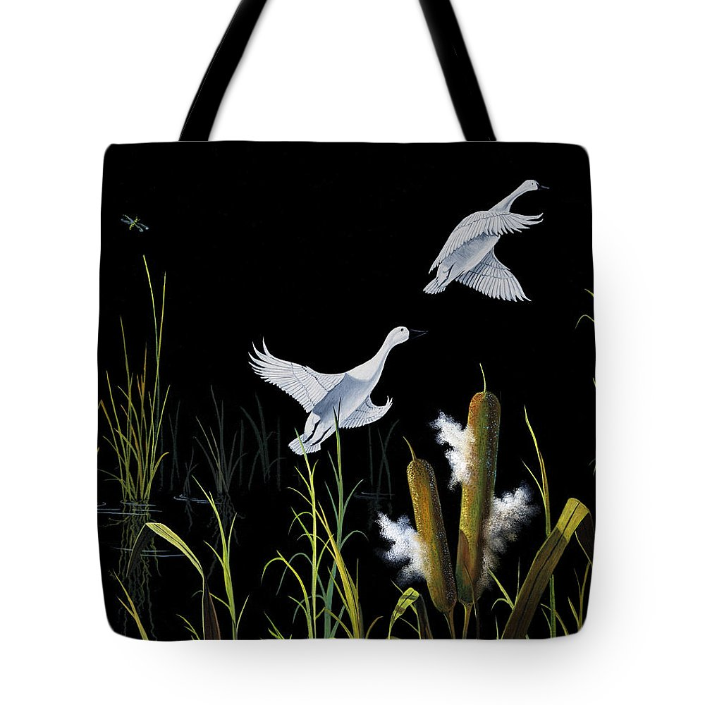 Birds Tote Bag featuring the painting In Flight by Don Griffiths