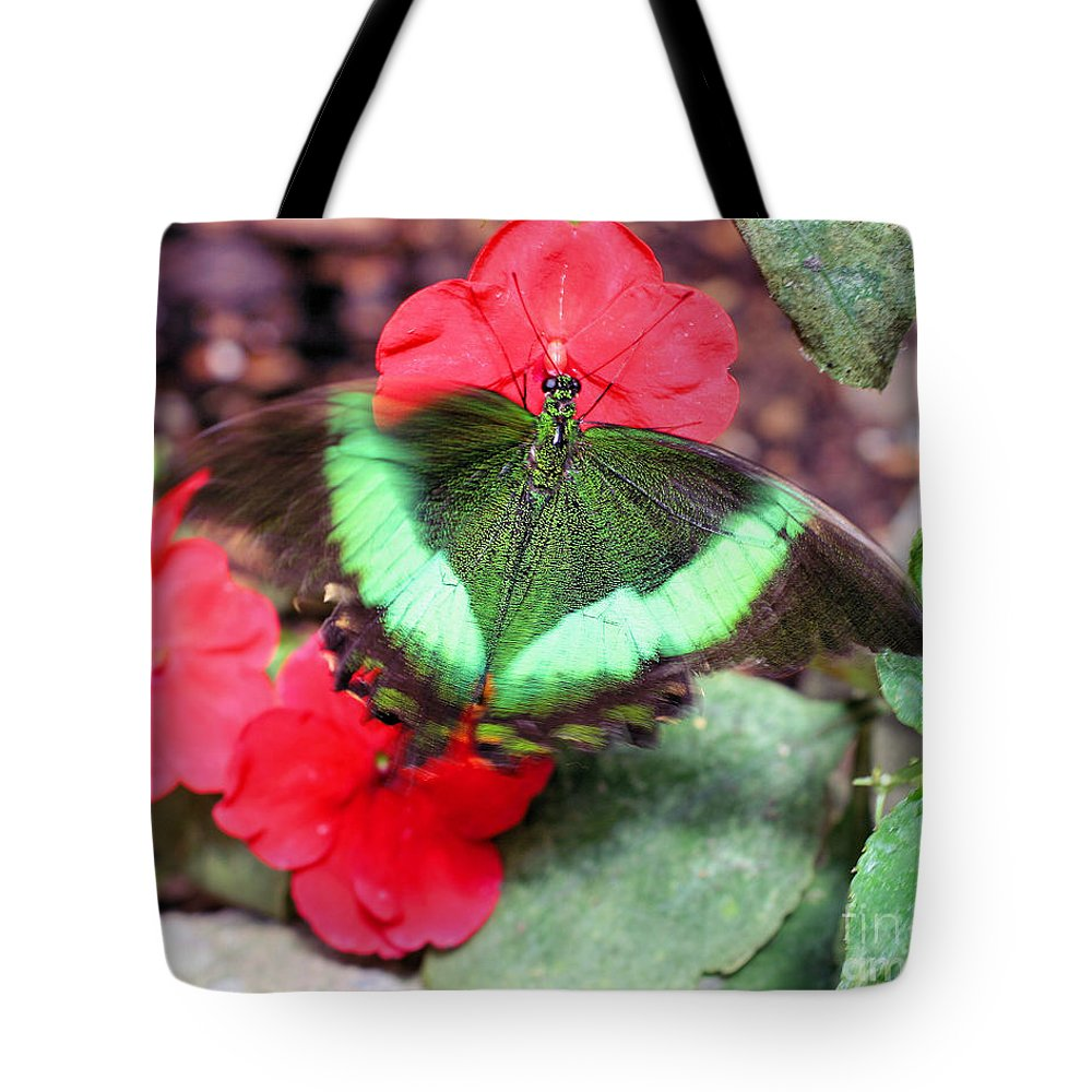 Butterfly Tote Bag featuring the photograph In Flight by Smilin Eyes Treasures