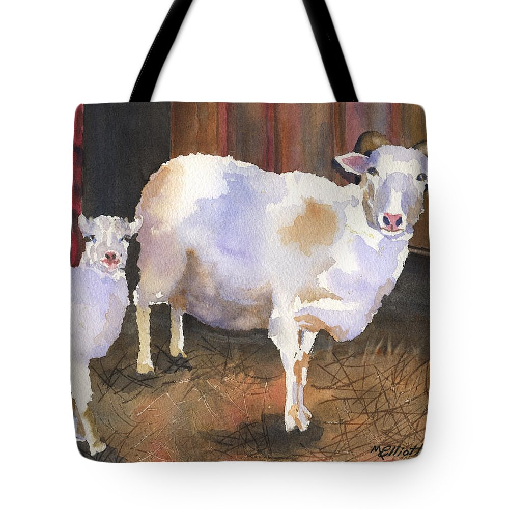 Lamb Tote Bag featuring the painting In For The Night by Marsha Elliott